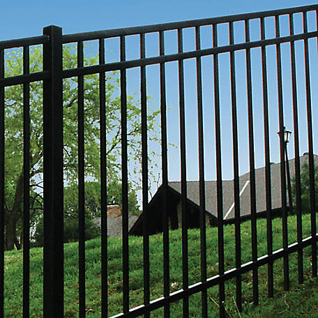 Fortress Versai Three-Rail 58 in. Height x 90.5 in. Width Steel Fence Panel, 713589041