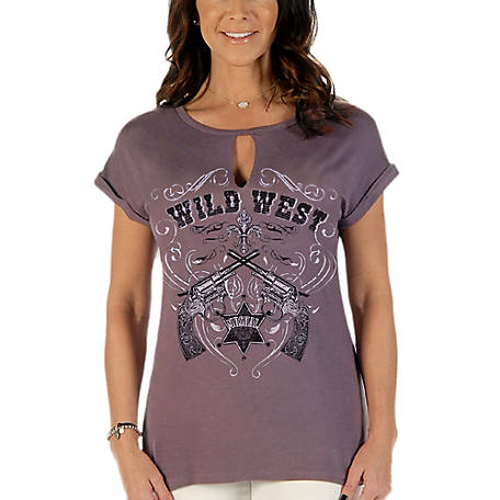 Liberty Wear Women's Short Sleeve Top with Wild West Graphic and Stone Embellishment, 7013
