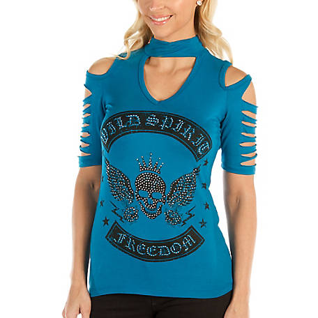 Liberty Wear Women's Cobalt Wild Spirit Graphic top with Silver Cut Stone Accents, 7220