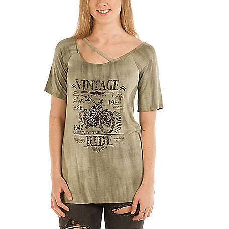 Liberty Wear Women's Short Sleeve Asymetrical Neckline Top with Vintage Ride Graphic and Stone Accents, 7620