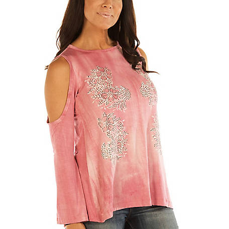 Liberty Wear Women's Cold Shoulder Tunic Style Long Sleeve Top with Floral Vines Graphic and Stone Accents, 7668