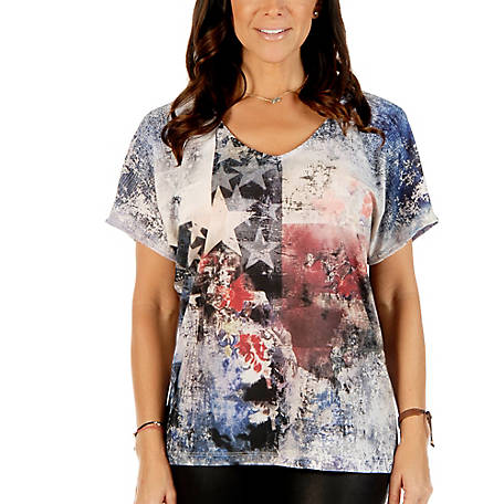 Liberty Wear Women's Loose Fit Sublimation Top with Abstract Stars and Stripes Design, 7819