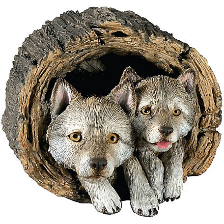 Sandicast Gray Wolf & Pup Sculpture