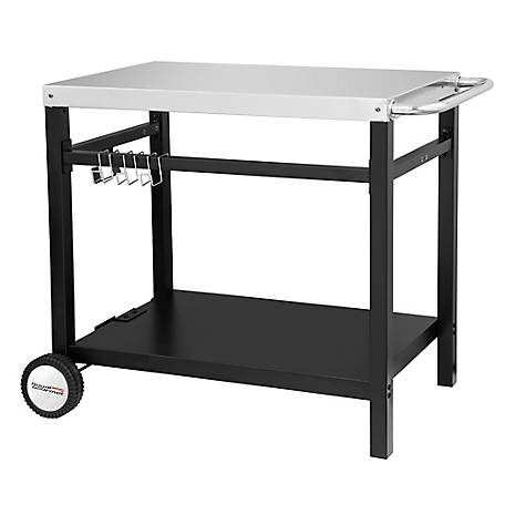 Royal Gourmet Double Shelf Movable Dining Cart Work Table with Kitchen Prep Trolley Storage, 34 in. x 20 in., Stainless Steel