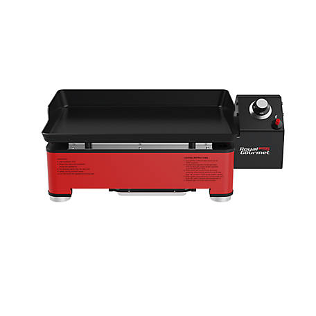 Royal Gourmet Portable Table Top Propane Gas Grill Griddle for Outdoor Cooking while Camping or Tailgating, 18 in, Red, PD1202R
