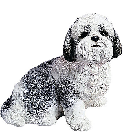 Sandicast Life Size Silver/White Shih Tzu Dog Sculpture