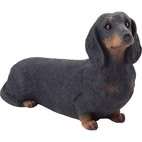 Sandicast Mid Size Black Dachshund Dog Sculpture
