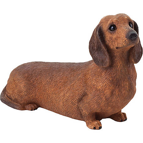 Sandicast Mid Size Red Dachshund Dog Sculpture