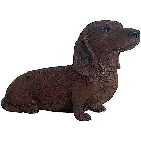 Sandicast Original Size Red Dachshund Dog Sculpture