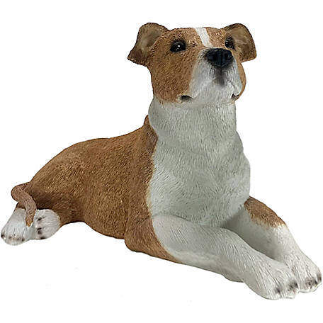 Sandicast Original Size Fawn Pit Bull Terrier Dog Sculpture