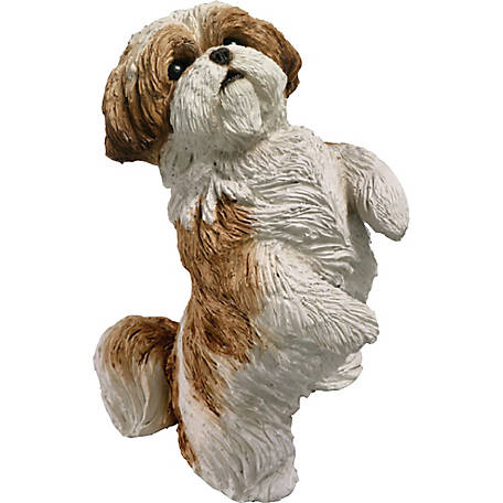 Sandicast Original Size Gold/White Shih Tzu Dog Sculpture