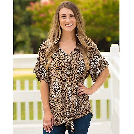 Grace & Emma Women's Every Meow and Again Button Down Top with Tie