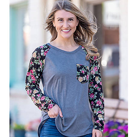 Grace & Emma Women's Kaitlyn's Blouse with Floral Sleeves & Pocket