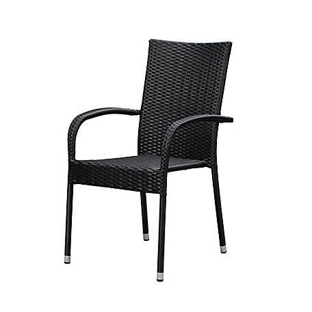 Patio Sense Morgan Wicker Black Chair, 63166