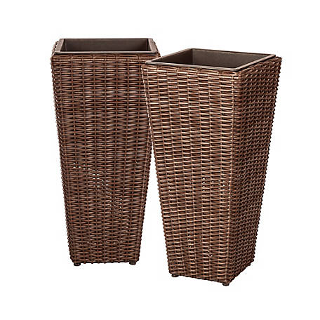 Patio Sense Alto 2-Piece Wicker Plant Set, 62501