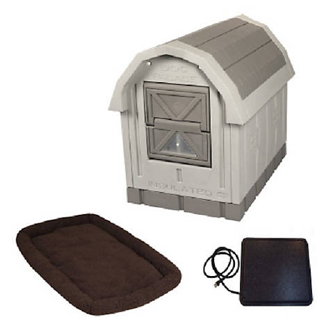 Dog Palace Premium Insulated Dog House with Heating Pad and Fleece Bed, DP15WHB
