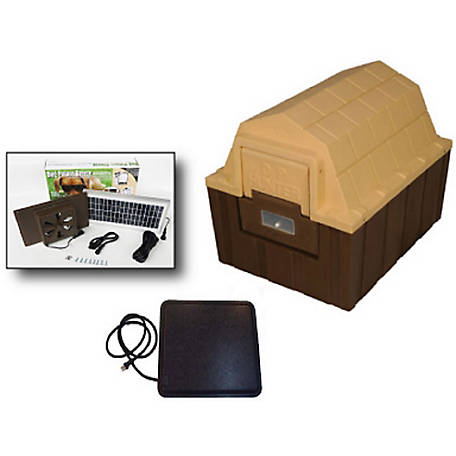 Dog Palace DP Hunter Premium Insulated Dog House with Heating Pad and Solar Fan, DH-30 COMBO