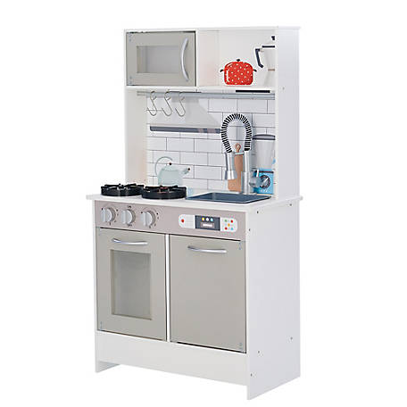 Teamson Kids Little Chef Valencia Classic Play Kitchen Grey Td 12913g At Tractor Supply Co