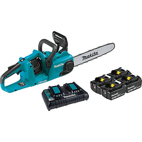 Makita 18Vx2 36V Lithium Ion Brushless Cordless 14 in. Chainsaw Kit with 4 Each Bl1850B Batteries 5.0AH, XCU03PT1