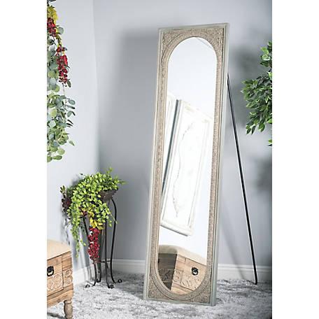 Hand Carved Wood Frame, Full Length Mirror Black Metal Frame