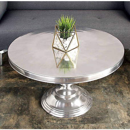 Harper Willow 30 In X 19 In Small Traditional Style Metallic Silver Round Coffee Table 30780 At Tractor Supply Co