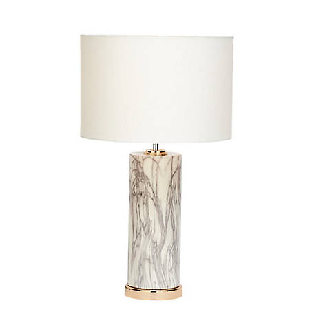 Harper Willow 5 In X 26 In Large Cylindrical White Marble Table Lamp With Metallic Gold Base White Drum Shade 60726 At Tractor Supply Co