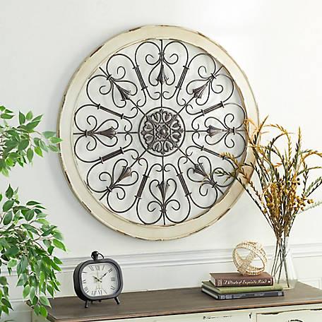 Large Round Distressed White Wood, Round White Wood Wall Decor