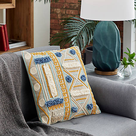 Harper Willow 20 In X 20 In Square Blue And Gold Decorative Throw Pillow With Boho Pattern And Pompoms 62068 At Tractor Supply Co
