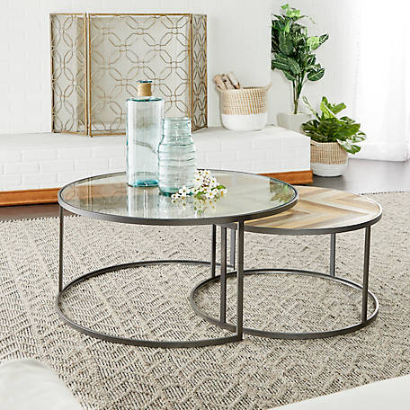Wood Nesting Round Coffee Tables Set, Round Metal And Glass Coffee Table