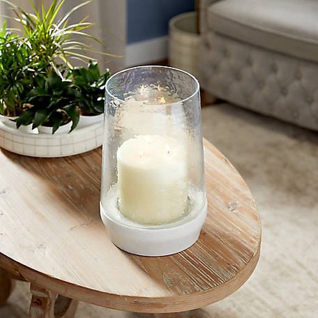 Harper Willow Large Round White Stone And Dimpled Glass Candle Holder 9 In X 13 In 52487 At Tractor Supply Co