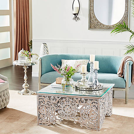 Harper Willow 36 In X 19 In Square Distressed White Wood Carved Coffee Table With Clear Glass Top 22340 At Tractor Supply Co