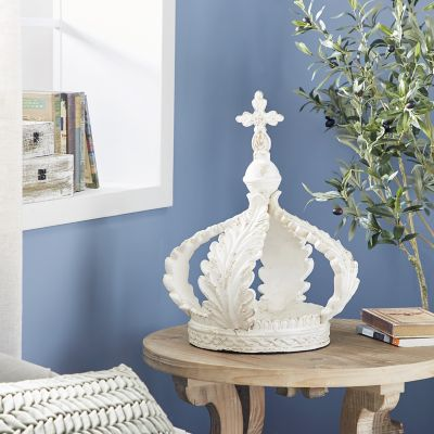 Harper Willow 16 In X 21 In Large Distressed White Royal Crown Sculpture Shelf Decor 20474 At Tractor Supply Co