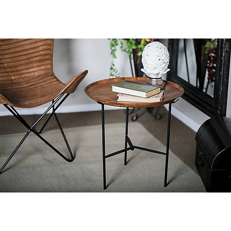Harper Willow 19 X In Small Round Black Metal And Wood Accent Table Width 8 Lbs 67876 At Tractor Supply Co - Black Metal Narrow End Table