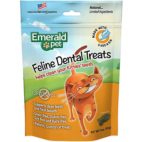 Emerald Pet Grain Free Chicken Feline Dental Treats, 3 oz., 3106411