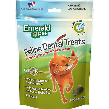 Emerald Pet Grain Free Tuna Feline Dental Treats, 3 oz., 3106435