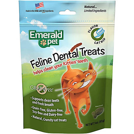Emerald Pet Grain Free Catnip Feline Dental Treats, 3 oz., 8004098