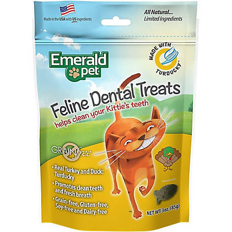 Emerald Pet Grain Free Turducky Feline Dental Treats, 3 oz., 8004081