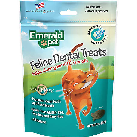 Emerald Pet Grain Free Ocean Fish Feline Dental Treats, 3 oz., SNT00404