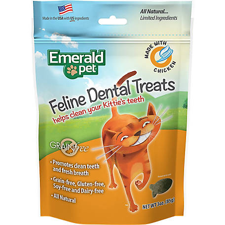 Emerald Pet Chicken Feline Dental Cat Treats Tub, 11 oz. Bag, 3006140