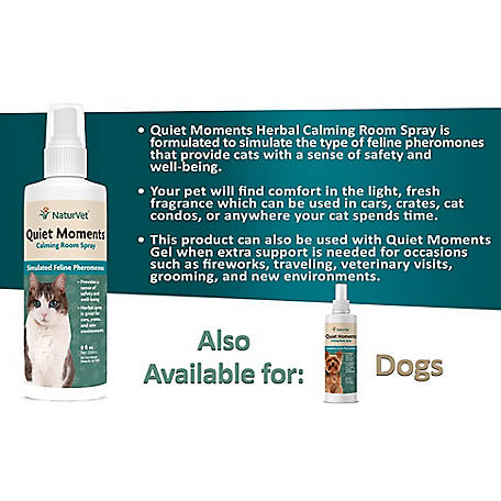 NaturVet Quiet Moments Calming Room Spray with Simulated Feline Pheromones for Cats, 8 oz., 53573