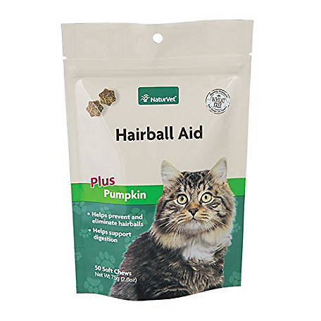 NaturVet Wheat Free Hairball Aid Plus Pumpkin Cats Soft Chews, 50 ct., 1036795