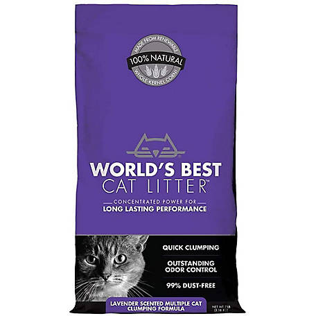World's Best Cat Litter Lavender Scented Multiple Cat Clumping Formula Cat Litter, 14 lb., 1001694