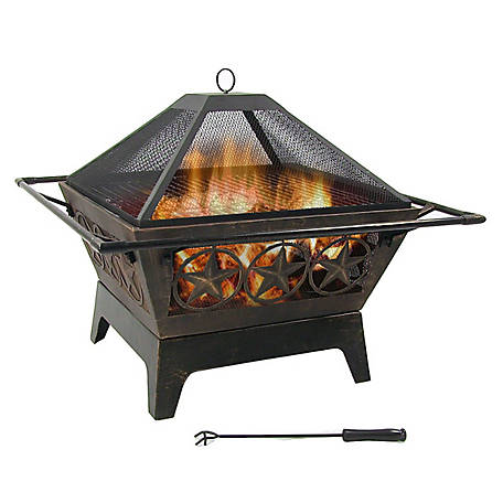 Sunnydaze Decor Northern Galaxy Square Fire Pit With Cooking Grate Thick Steel Bronze High Temperature Paint Kf 65126wt At Tractor Supply Co