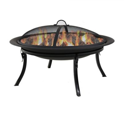 Sunnydaze Decor 29 in. Portable Folding Fire Pit with Carrying Case & Spark Screen, NB-CGO101