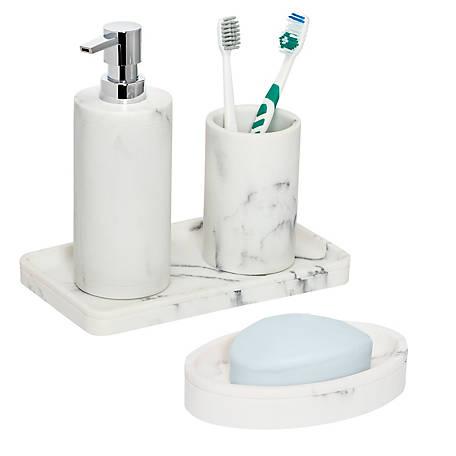 Honey Can Do 4 Piece Marble Bath, Bathroom Soap Dispenser Set With Tray