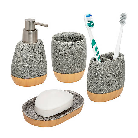 Honey Can Do 4 Piece Speckled Bath, Bathroom Soap Dispenser And Toothbrush Holder