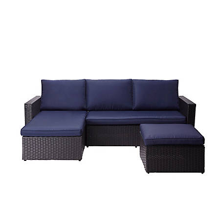 Pc Rattan Patio Sectional Set, Peaktop 3 Piece Wicker Patio Set With Cushions