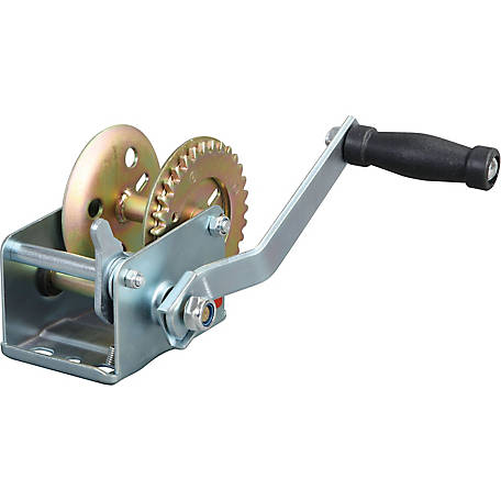 Torin Big Red TRT1061 600 lb. Single-Speed Manual Geared Hand Winch, Zinc Plated