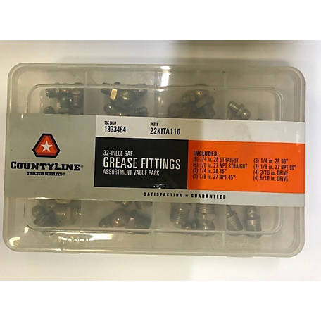 CountyLine Grease Fitting Assortment, Pack of 32