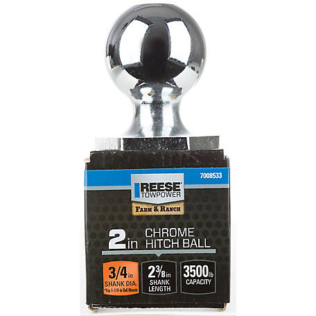 Reese Towpower InterLock Hitch Ball, 2 in., Chrome, 2-3/8 in. Long Shank, 3,500 lb. Capacity, 7008533